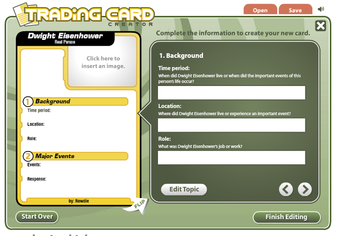 """read write think trading cards Readwritethinkorg has a nice collection of apps one we want to share with you today is trading cards """"readwritethink's trading cards app allows kids and teens a unique way to share their understanding of various topics, to build study aids for school, or to create their own fictional world of characters."""