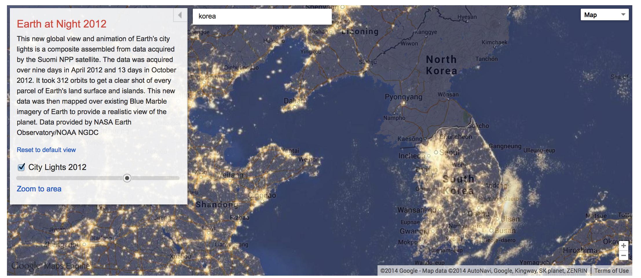 Google maps gallery interactive digital atlas history tech korea at night gumiabroncs Images