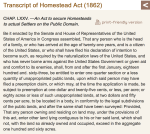 Homestead Act - Transcript