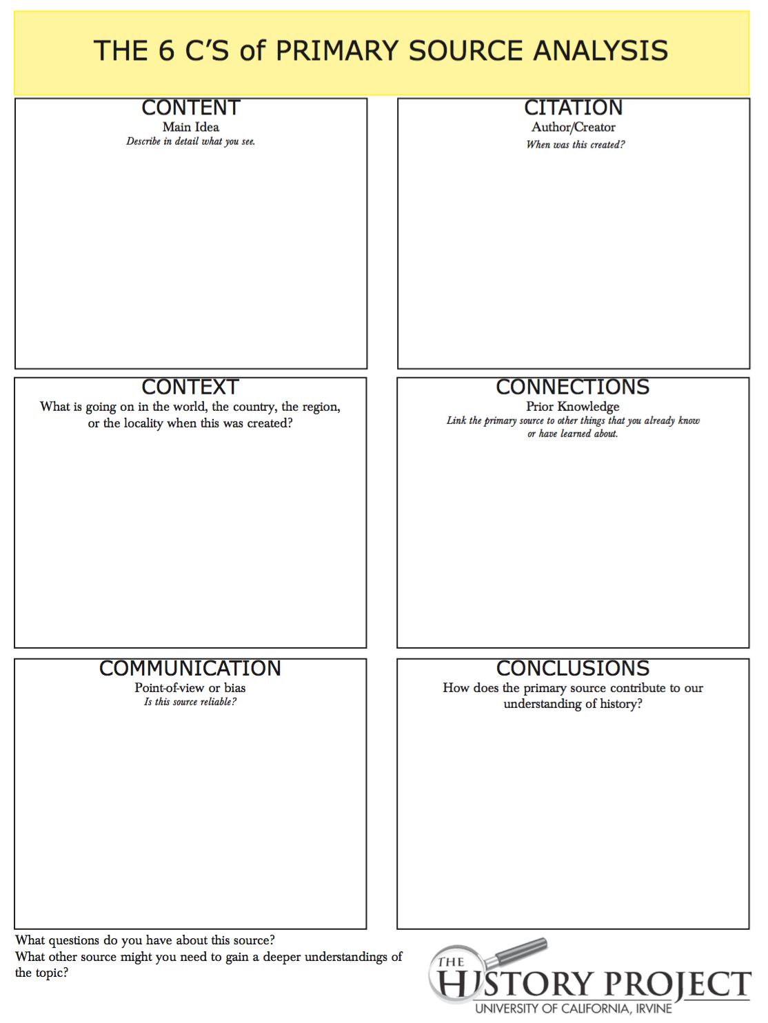 6 Cs to better document analysis – Primary Secondary Sources Worksheet