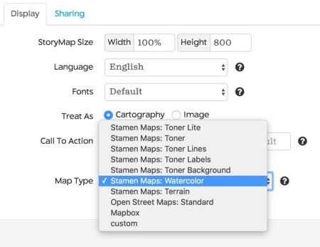 storymap options