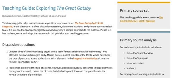 The Great Gatsby by F. Scott Fitzgerald teaching guide